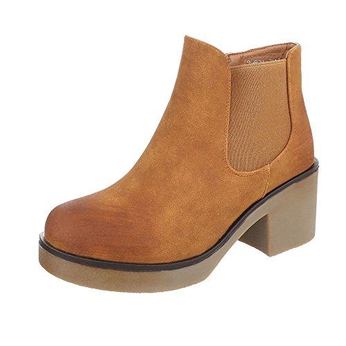 Ital-Design Klassische Stiefeletten Damen-Schuhe Klassische Stiefeletten Blockabsatz Blockabsatz Reißverschluss Stiefeletten Camel, Gr 37, 8-801-