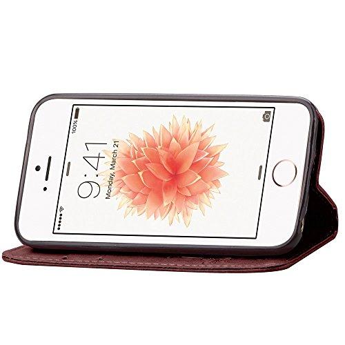 Apple iPhone 5C Wallet Case - Felfy Luxe Bookstyle Quatre Feuilles Motif Flip-style Magnetic Closure PU Cuir Étui Portefeuille Housse Portefeuille Relief Coque Housse Swag Case Apple iPhone 5C Coquill brun