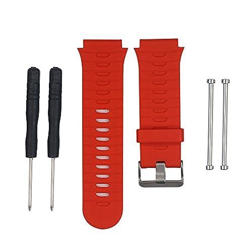 Keesin Bracelet en silicone Band réglable Sport Outdoor Watch Band Sangle de bracelet de rechange pour Garmin Forerunner 920X T avec vis de Original et le démontage Outil, Red