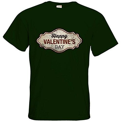 getshirts - RAHMENLOS® Geschenke - T-Shirt - Valentinstag Valentine Plakette used Look Bottle Green