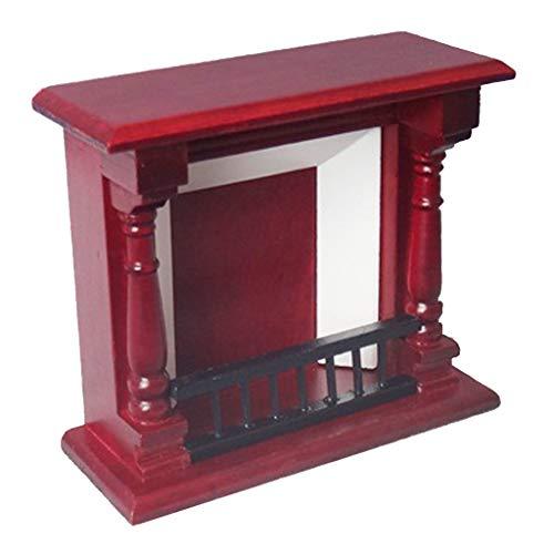 KESOTO Vintage Muebles de Madera Chimenea Habitación Adorno para 1/12 Casa de...