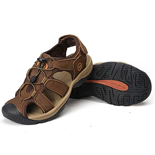 Zhuhaitf Fashion Mens Synthetic Leather Soft Shoes Athletic & Outdoor Walking Sandals Closed-Toe Shoes brown