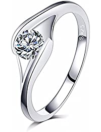 Ruvee Eternal Love Platinum Plated Diamond Wedding Ring For Women & Girls
