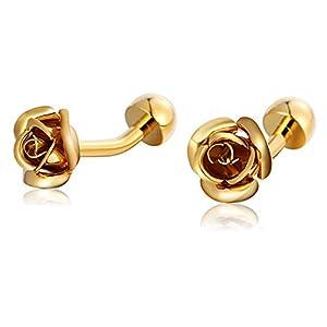 AnazoZ Manschettenknopf Hemd Herren Edelstahl Blume Cufflinks Hemdanzug Manschettenknöpfe Herren Vintage Gold Elegante
