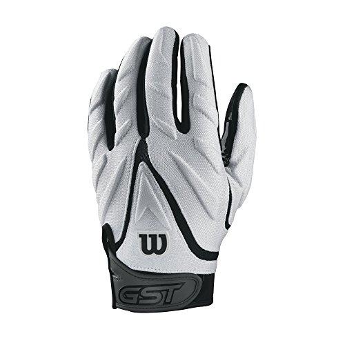 Wilson GST Big Skill American Football leicht gepolsterte Receiver Handschuhe - weiß Gr. XL (Football Gepolsterte Handschuhe)