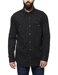 Urbano Fashion Men's Denim Black Solid Casual Shirt