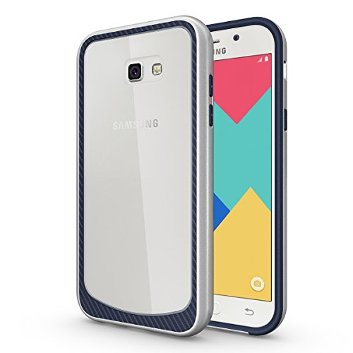 Futypei Samsung Galaxy A7 (2017) Hülle Weiche Silikon Bumper Cover Glitzern Handyhülle Kratzfest Stoßfest Schutzhülle Case Glitter Bling Handytasche Slim Etui Silikon Case Silver + Navy