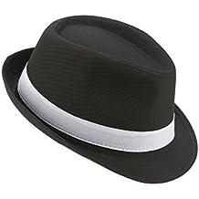 Cappello borsalino nero fascia bianca adulto 2082863970e4