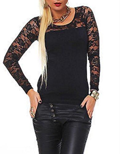 Zeagoo Damen T-Shirt mit Spitze Langarmshirt Spitzenshirt Top Bluse Shirt Tunika Hemd (EU 36/ S, Schwarz) (Shirt Schwarz Floral)