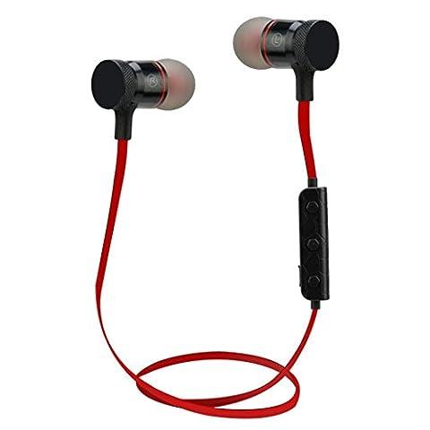 Hunpta Bluetooth 4.1stéréo sans fil casque Sports Écouteurs intra-auriculaires casques, Red