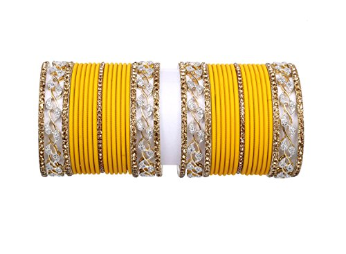 Traditional gold Latken made Turmeric color plain bangle set pair for women Party & wedding Bridal bangle set jewelry (2.8)