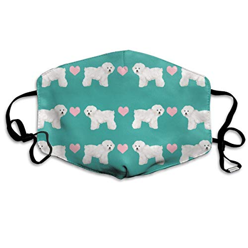 Daawqee Staubschutzmasken, Green Bichon Frise Fabric Face Masks Breathable Dust Filter Masks Mouth Cover Masks with Elastic Ear Loop