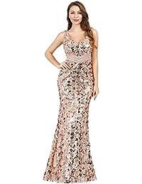 Ever-Pretty Vestito da Sera Paillettes Lungo Donna Spacco Alto Senza Schienale 07932