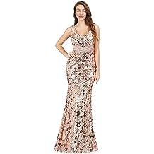 19f7a4cc4 Ever-Pretty Vestido de Noche Lentejuelas Sirena Cuello en V sin Mangas Boda  Ceremonia para