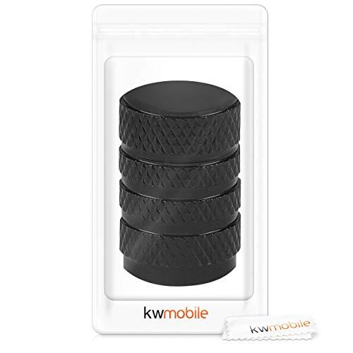 5in1 Set: kwmobile Ventilkappen in Schwarz – Metall Kappen für Auto Motorrad Fahrrad Reifen Ventile - 7