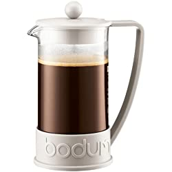 Bodum BRAZIL Kaffeebereiter (French Press System, Permanent Edelstahl-Filter, 1,0 liters) cremefarben