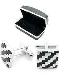 1 Paar Manschettenknöpfe Cufflinks + Etuis Geschenkbox Hemd Anzug Krawatte Hochzeit Damen Herren Silbern Schwarz