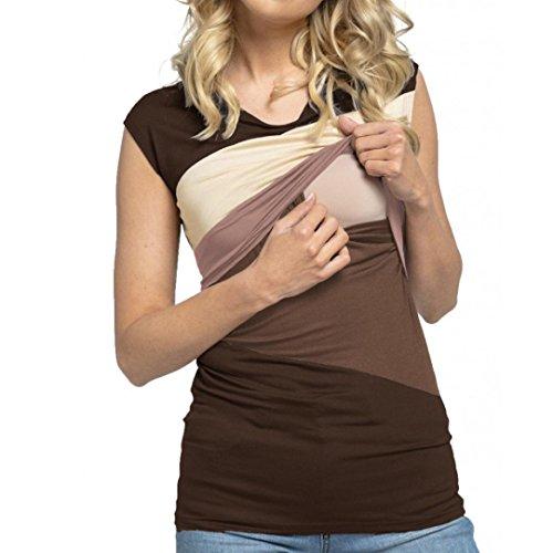 Maglietta per l'allattamento elegante - feixiang® camicie e casacche da premaman camicia da donna per maternità camicia a doppio strato con maniche avvolgibili bambino avvolgere (caffè, xl)