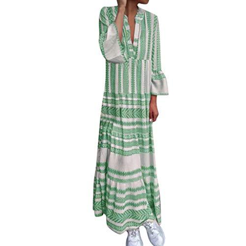 Sommerkleid aus Baumwolle und Leinen mit V-Ausschnitt für Damen,Zolimx Frauen Plus Size Sommer V-Ausschnitt gedruckt Urlaub Lange Flare Ärmel Maxi-Kleid - Flat-front-hose Flares