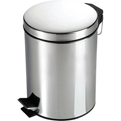 Preisvergleich Produktbild ponze New Treteimer Deckel Müll Abfall Staub Katzenstreu Papier 3Liter klein schwarz weiß HOME Edelstahlfarben