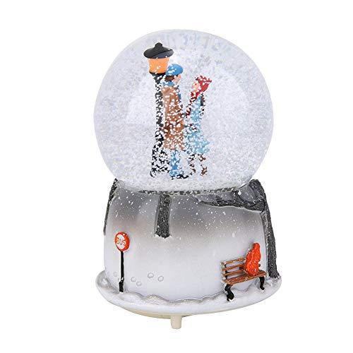AUNMAS Spieluhr mit Schneekugel Weihnachten Die Liebhaber Form Licht Lampe Musik Nachtlicht Desktop Ornament Wohnkultur