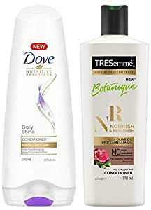 Dove Daily Shine Conditioner, 180ml & TRESemme Nourish and Replenish Conditioner, 190ml