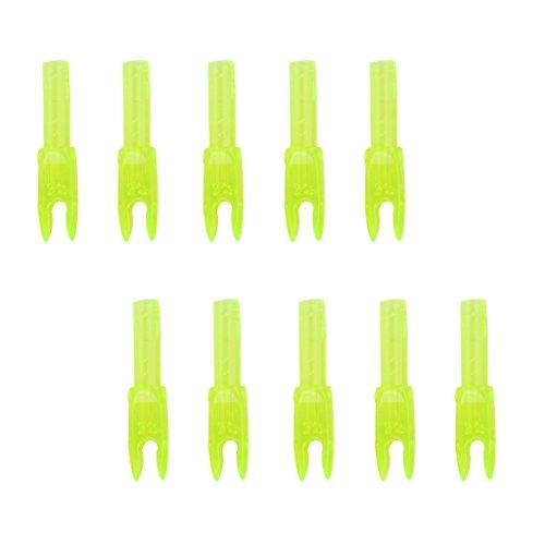 10pcs Hochwertigen Bogenschiessen Kunststoffnocke Carbonpfeil End Zubehoer gelb