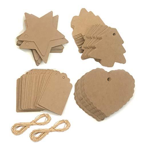 Weihnachten hängenden Baum Geschenkanhänger, Geschenkpapier Tags Kraftpapier Geschenkanhänger mit Jute String, Blank Craft Geschenkanhänger (Packung mit 200 Stück Tags und 66 Yard Jute Seil)