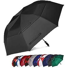 Eono Essentials, ombrello da golf, portatile, doppio telo, antivento, automatico, resistente e oversized, 158 cm, colore nero