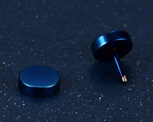 Anazoz Homme Boucle D'Oreille Coréens Hip-Hop Rock Style Haltère Design Boucle D'Oreille Argent/Bleu/Noir/Or/Multicolore Optionnel 8Mm*10Mm bleu