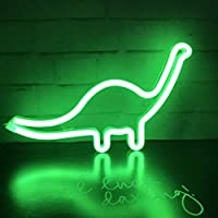 QiaoFei Dinosaur Neon Light Sign,Dinosaur Decor Lamp Wall Art Sign for Kids Gift Battery or USB Operated Table LED Night Lights for Girls Bedroom,Living Room,Christmas,Party,Home Accessories
