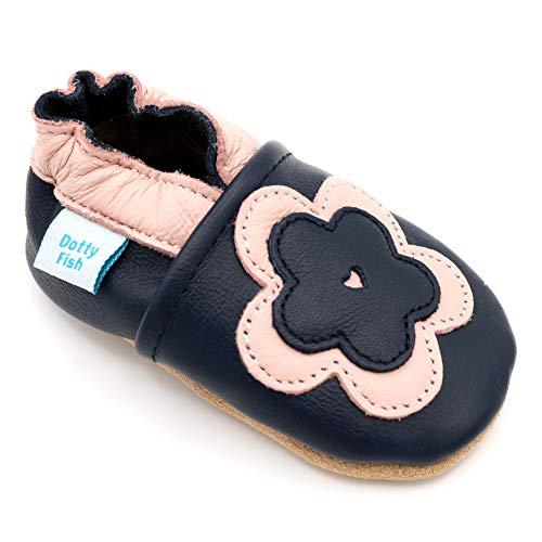 Dotty Fish weiche Leder Babyschuhe. Rutschfesten Wildledersohlen. 2-3 Jahre (25 EU). Marineblau mit rosa Blume.