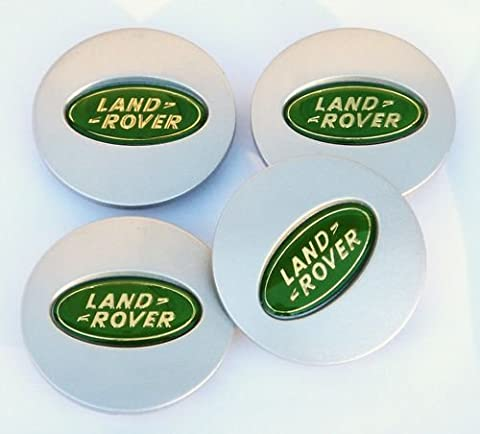 4 X GREEN & SILVER 60MM LAND ROVER / RANGE ROVER FREELANDER DISCOVERY ALLOY WHEEL CENTRE CAPS BADGES EMBLEM