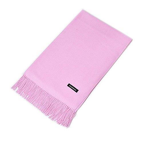 MMYOMI Frauen Männer Liebhaber Unisex glatt Kaschmir Schal 100% super weiche Plaid solide Pashmina Wrap Schal Schal (Hell-Pink) (Pink Plaid)