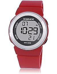 Reloj electrónico digital de múltiples funciones de los ni?os,Jalea 100 m led resina resistente al agua correa alarma cronómetro chicas o chicos lindos moda reloj de pulsera-E