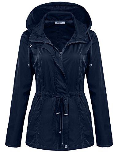 Meaneor Manteau de Pluie Vêtements Imperméable avec Capuche Raincoat
