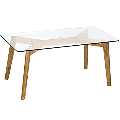Hartleys Modern Rectangular Glass & Solid Oak Coffee Table
