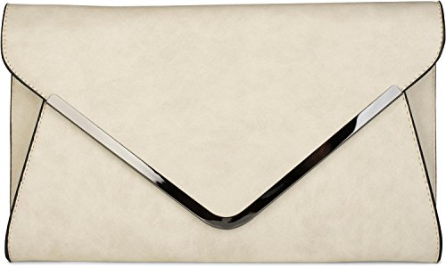 styleBREAKER Envelope Clutch, Abendtasche im Kuvert Design mit Schulterriehmen und Trageschlaufe, Damen 02012047, Farbe:Creme-Beige