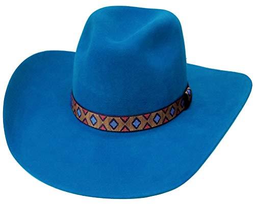 Modestone Traditional Genuine Wool Felt Cowboy-Hut 2X Blue -
