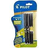 Pilot V7 Hi-Tecpoint Roller Ball Pen with Cartridge System - 2 Black Pens, 4 Black Cartridges