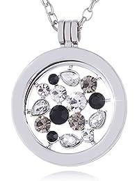 Morella Damen Halskette 70 cm Edelstahl mit Amulett und Coin 33 mm in Schmuckbeutel