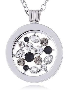 Morella Damen Halskette 70 cm Edelstahl mit Amulett und Coin 33 mm im Schmuckbeutel