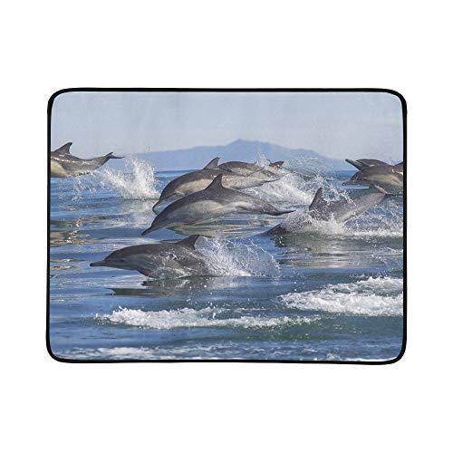 SHAOKAO Delphin-Sprung aus dem blauen Wasser-Muster tragbare und Faltbare Deckenmatte 60x78 Zoll-handliche Matte für kampierende Picknick-Strand-im Freienreise - Pod Pacific
