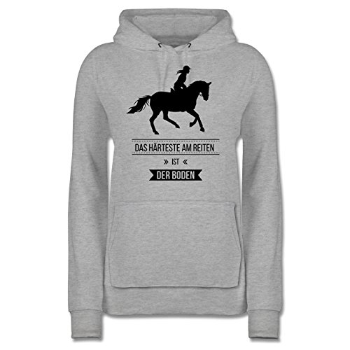 Shirtracer Pferde - Das Härteste am Reiten ist der Boden - S - Grau meliert - JH001F - Damen Hoodie