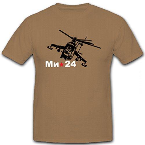 Mil-24 Russischer Hubschrauber Helikopter RusslandHind 24 Mil Mi-24 Sowjetunion Letajuschtschi Tank Fliegender Panzer - T Shirt Herren khaki #5928