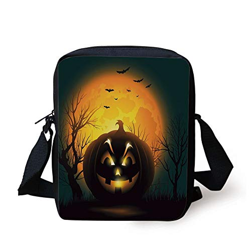 Halloween,Fierce Character Evil Face Ominous Aggressive Pumpkin Full Moon Bats Decorative,Orange Dark Brown Black Print Kids Crossbody Messenger Bag Purse