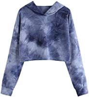 Dubocu Women's Tops Hoodie Printed Patchrk Sweatshirt Long Sleeve Pullover Bl