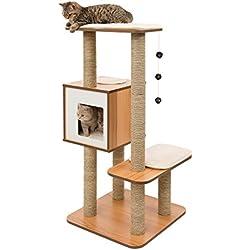"""Vesper Katzenmöbel """"High Base"""" walnut - Kubus-Höhle mit zwei Plattformen"""
