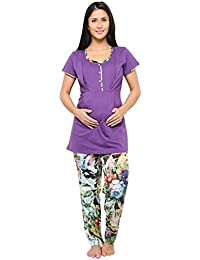 Women Nightsuit For Pregnant/Feeding Women / Nursing Women- Purple Color - Soft Satin Material - Feeding Night Suit/Nighty- Zippered Sides - Branded Valentine Nightsuit for women - Available Size L/XL/XXL/3XL- Top and Pyjama set - Set of 2