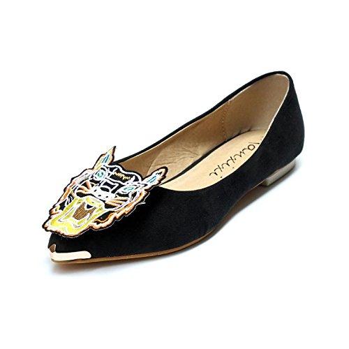 LvYuan-mxx Femmes chaussures plates / Printemps été automne / Décontracté / Simple suède / imprimé léopard / talons plats pointé tête / Bureau et carrière Robe BLACK-36